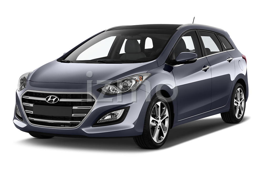 2015 Hyundai I30 Go 5 Door Wagon Angular Front stock photos of front three quarter view