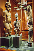 Ancient wood carvings of Hawaiian deities on display at the Bishop Museum, Honolulu, O'ahu.