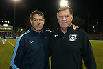 28 November 2015: UNC head coach Carlos Somoano (left) with current Creighton and former UNC head coach Elmar Bolowich (right). The University of North Carolina Tar Heels hosted the Creighton University Bluejays at Fetzer Field in Chapel Hill, NC in a 2015 NCAA Division I Men's Soccer Tournament Third Round match. Creighton won the game 1-0.