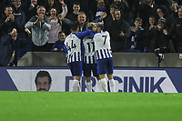 Brighton celebrates their fist goal scored by Leandro Trossard during Brighton & Hove Albion vs Norwich City, Premier League Football at the American Express Community Stadium on 2nd November 2019