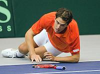 06-03-11, Tennis, Oekraine, Kharkov, Daviscup, Oekraine - Netherlands, Jesse Huta Galung  gaat onderuit