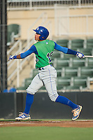 Marten Gasparini (16) of the Lexington Legends follows through on his swing against the Kannapolis Intimidators at Kannapolis Intimidators Stadium on July 14, 2016 in Kannapolis, North Carolina.  The Kannapolis Intimidators defeated the Lexington Legends 4-2.  (Brian Westerholt/Four Seam Images)