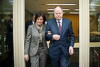 Berlin, der SPD-Kanzlerkandidat Peer Steinbrück und die Ministerpräsidentin von Rheinland-Pfalz, Malu Dreyer (SPD), kommen am Donnerstag (02.05.13) in der Landesvertretung Nordrhein-Westfalen in Berlin bei einem Treffen der SPD-Ministerpräsidenten..Foto: Steffi Loos/CommonLens