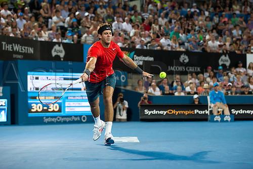 11.01.2014. Sydney Australia.  Juan Martin Del Potro during the Mens Final, Apia International, Sydney Olympic Park Tennis Centre, Sydney, Australia, Saturday, 11 Jan 2014.