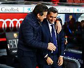 11th January 2018, Camp Nou, Barcelona, Spain; Copa del Rey football, round of 16, 2nd leg, Barcelona versus Celta Vigo; Juan Carlos Unzue of Celta and Ernesto Valverde of Barcelona greet each other