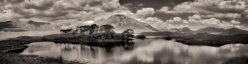 Derryclare Loch/lake with some of the 12 Ben Mountains. County Galway, Connemara, Ireland