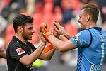 14.04.2018, BayArena, Leverkusen , GER, 1.FBL., Bayer 04 Leverkusen vs. Eintracht Frankfurt<br /> im Bild / picture shows: <br /> freuen sich &uuml;ber den Sieg   Kevin Volland (Leverkusen #31), Bernd Leno Torwart (Leverkusen #1), <br /> <br /> <br /> Foto &copy; nordphoto / Meuter