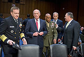"From left to right:  Admiral Michael Rogers, Director of the National Security Agency (NSA); Daniel R. Coats,<br /> Director of National Intelligence (DNI); Lieutenant General Vincent Stewart, Director of the Defense Intelligence Agency (DIA); Robert Cardillo, Director of the National Geospatial-Intelligence Agency (NGA); Michael Pompeo, Director of the Central Intelligence Agency (CIA); arrive prior to the United States Senate Select Committee on Intelligence conducting an open hearing titled ""Worldwide Threats"" on Capitol Hill in Washington, DC on Thursday, May 11, 2017.  <br /> Credit: Ron Sachs / CNP<br /> (RESTRICTION: NO New York or New Jersey Newspapers or newspapers within a 75 mile radius of New York City)"