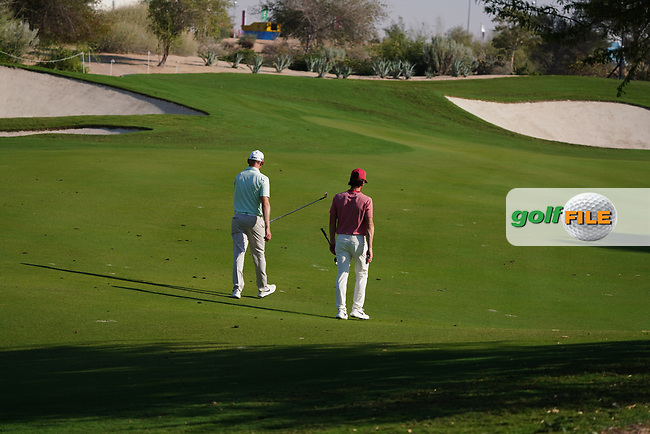 Kristoffer Broberg (SWE) and Sebastian Soderberg (SWE) on the 16th during Round 1 of the Commercial Bank Qatar Masters 2020 at the Education City Golf Club, Doha, Qatar . 05/03/2020<br /> Picture: Golffile | Thos Caffrey<br /> <br /> <br /> All photo usage must carry mandatory copyright credit (© Golffile | Thos Caffrey)