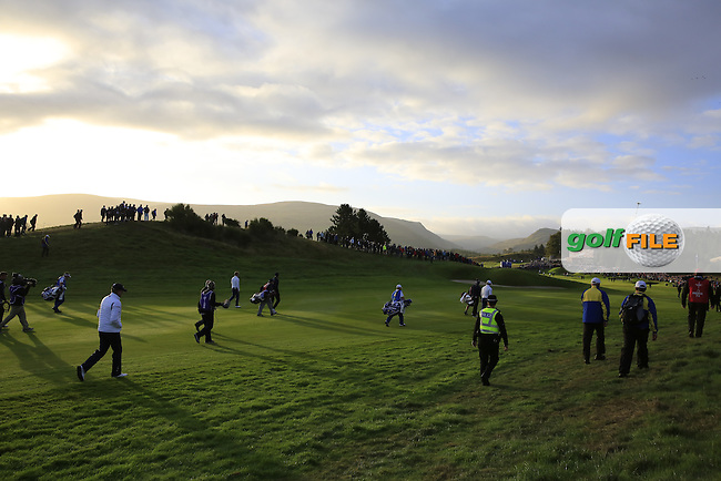 Early morning light falls on the 2nd hole during Saturday Mornings Fourball Matches between Europe's Lee Westwood and Jamie Donaldson and USA's Hunter Mahan and Jim Furyk of the Ryder Cup 2014 played on the PGA Centenary Course at the Gleneagles Hotel, Auchterarder, Scotland.: Picture Eoin Clarke, www.golffile.ie : 27th September 2014
