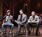 Jordan Fisher, Taran Killam and Neil Haskell greets students during a cast Q & A before The Rockefeller Foundation and The Gilder Lehrman Institute of American History sponsored High School student matinee performance of  'Hamilton' at the Richard Rodgers Theatre on 2/8/2017 in New York City.