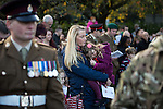 © Joel Goodman - 07973 332324 . 09/11/2014 .  Salford , UK . Remembrance Sunday memorial service at the cenotaph in front of Salford Town Hall in Swinton . Photo credit : Joel Goodman