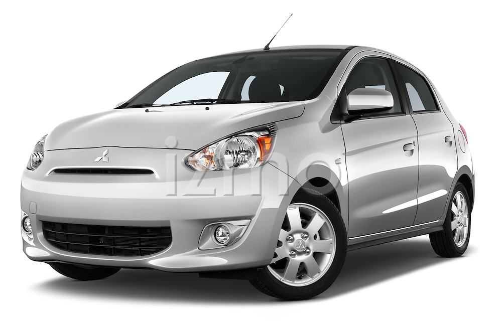 Low aggressive front three quarter view of a 2014 Mitsubishi SPACE STAR 5 Door Hatchback 2WD
