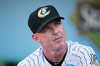 Charlotte Knights hitting coach Andy Tomberlin (11) prior to the game against the Durham Bulls at BB&T BallPark on May 16, 2017 in Charlotte, North Carolina.  The Knights defeated the Bulls 5-3. (Brian Westerholt/Four Seam Images)