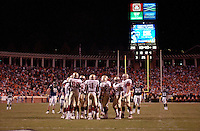 24 September 2005:  Fred Rouse (1) and the Florida State offense huddle..The Virginia Cavaliers upset the #4 Florida State Seminoles 26-21 at Scott Stadium in Charlottesville, VA.
