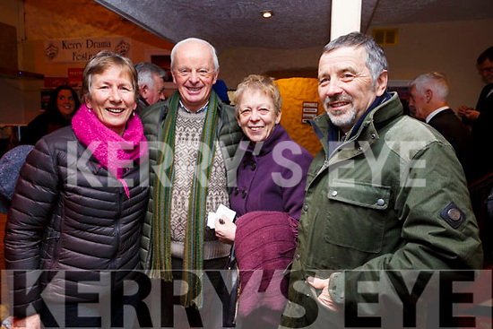 Phil and Sean Leen (Derrymore) and Mary and Padraig O'Moron (Camp) attending the opening night of the Kerry Drama Festival in the Ivy Leaf in Castleisland on Sunday night.