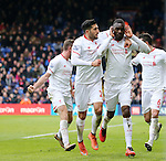 Liverpool's Christian Benteke celebrates scoring his sides second goal<br /> <br /> - English Premier League - Crystal Palace vs Liverpool  - Selhurst Park - London - England - 6th March 2016 - Pic David Klein/Sportimage