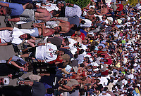 Fans crowd the Infield on Derby Day.