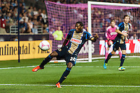 Raymon Gaddis (28) of the Philadelphia Union. The Philadelphia Union defeated Toronto FC 1-0 during a Major League Soccer (MLS) match at PPL Park in Chester, PA, on October 5, 2013.