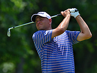 Potomac, MD - July 2, 2017: Bill Haas tees off on the 9th hole during Round 4 of professional play at the Quicken Loans National Tournament at TPC Potomac at Avenel Farm in Potomac, MD, July 2, 2017.  (Photo by Don Baxter/Media Images International)