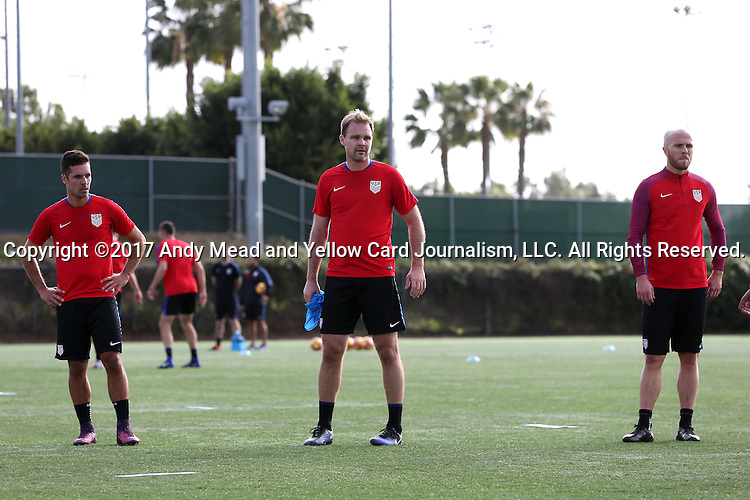 11 January 2017: Chad Marshall (center) with Benny Feilhaber (left) and Michael Bradley (right). The United States Men's National Team held their first training session under new head coach Bruce Arena on The Murphy Family Field at the StubHub Center in Carson, California.