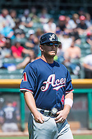 Garrett Weber (4) of the Reno Aces during the game against the Salt Lake Bees in Pacific Coast League action at Smith's Ballpark on May 10, 2015 in Salt Lake City, Utah.  Salt Lake defeated Reno 9-2 in Game One of the double-header.  (Stephen Smith/Four Seam Images)
