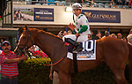 HALLANDALE BEACH, FL - March 3: Derby Promises Fulfilled for jockey Irad Ortiz and trainer Dale Romans at the Xpressbet Fountain of Youth Stakes (Grade II) at Gulfstream on March 3, 2018 in Hallandale Beach, FL. (Photo by Carson Dennis/Eclipse Sportswire/Getty Images.)