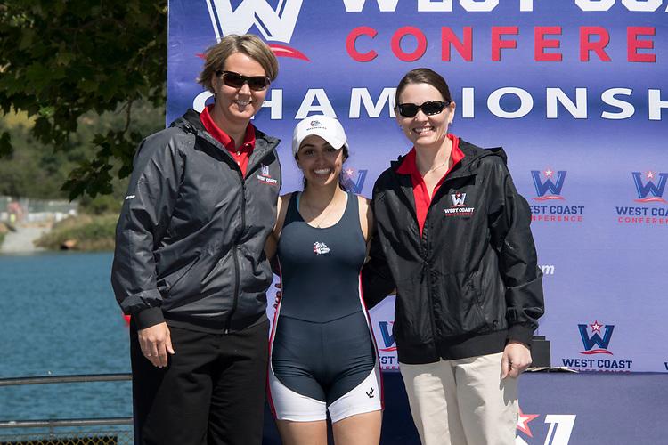 May 13, 2017; Gold River, CA, USA; WCC commissioner Lynn Holzman, WCC coxswain of the year Gonzaga Bulldogs Alexa Jadallah, Gonzaga Bulldogs Peggy Sue Loroz during the WCC Rowing Championships at Lake Natoma.
