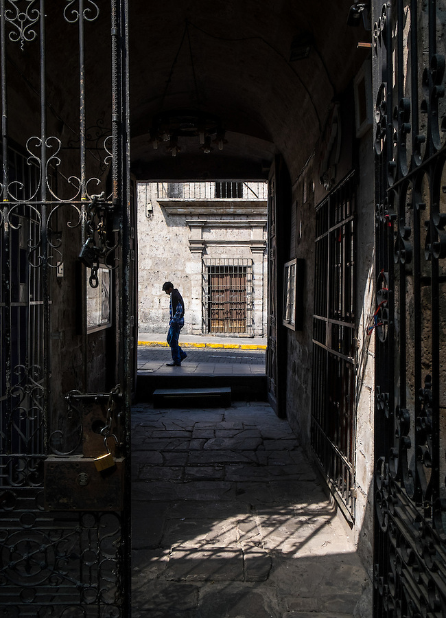 AREQUIPA, PERU - CIRCA APRIL 2014: View of typical iron works at the entrance of a colonial building of Arequipa. Arequipa is the Second city of Perú by population with 861,145 inhabitants and is the second most industrialized and commercial city of Peru.