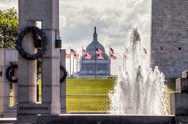 United States Capitol Building and WWII Memorial Washington DC<br /> Washington DC Photography
