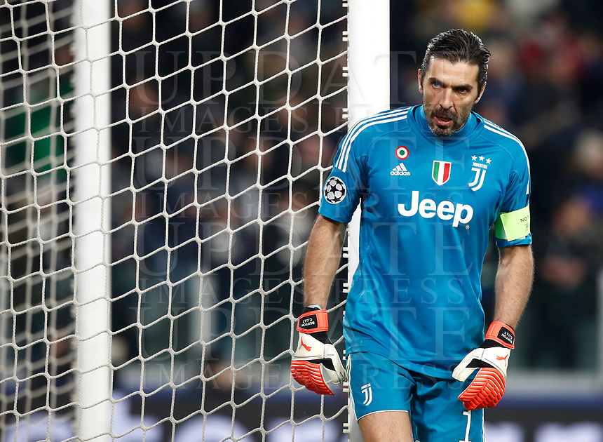 Football Soccer: UEFA Champions League Juventus vs Tottenahm Hotspurs FC Round of 16 1st leg, Allianz Stadium. Turin, Italy, February 13, 2018. <br /> Juventus' Captain and goalkeeper Gianluigi Buffon reacts during the Uefa Champions League football soccer match between Juventus and Tottenahm Hotspurs FC at Allianz Stadium in Turin, February 13, 2018.<br /> UPDATE IMAGES PRESS/Isabella Bonotto