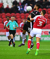 Lincoln City's Matt Green vies for possession with Rotherham United&rsquo;s Joe Mattock<br /> <br /> Photographer Andrew Vaughan/CameraSport<br /> <br /> The Carabao Cup First Round - Rotherham United v Lincoln City - Tuesday 8th August 2017 - New York Stadium - Rotherham<br />  <br /> World Copyright &copy; 2017 CameraSport. All rights reserved. 43 Linden Ave. Countesthorpe. Leicester. England. LE8 5PG - Tel: +44 (0) 116 277 4147 - admin@camerasport.com - www.camerasport.com