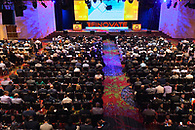 Overhead shot of the audience at a large conference at The Marriott Marquis.
