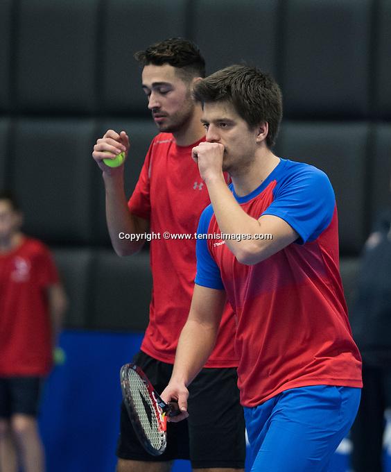 Rotterdam, Netherlands, December 16, 2016, Topsportcentrum, Lotto NK Tennis,   Doubles: Sander Arends (R) and David Pel<br /> Photo: Tennisimages/Henk Koster