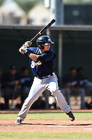Milwaukee Brewers second baseman Nathan Orf (3) during an Instructional League game against the Los Angeles Angels of Anaheim on October 9, 2014 at Tempe Diablo Stadium Complex in Tempe, Arizona.  (Mike Janes/Four Seam Images)