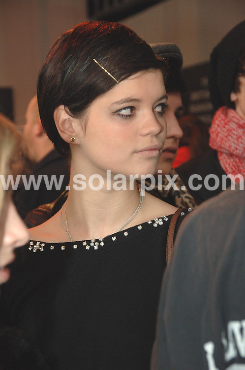 **ALL ROUND PICTURES FROM SOLARPIX.COM**.**WORLDWIDE SYNDICATION RIGHTS**.London Fashion Week 2007.  .This pic: Pixie Geldof...JOB REF:   3365   FMF           DATE: 13.02..**MUST CREDIT SOLARPIX.COM OR DOUBLE FEE WILL BE CHARGED**