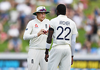 29th November 2019, Hamilton, New Zealand;  Joe Root talks to Jofra Archer on day 1 of the 2nd international cricket test match between New Zealand and England at Seddon Park, Hamilton, New Zealand. Friday 29 November 2019