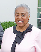 Minnie Forbes of the Detroit Stars, the last living owner of a team in the Negro Leagues, meets reporters at the White House in Washington, D.C. on Monday, August 5, 2013 following the player's meeting with United States President Barack Obama.<br /> Credit: Ron Sachs / CNP<br /> (RESTRICTION: NO New York or New Jersey Newspapers or newspapers within a 75 mile radius of New York City)