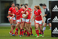 The Canada team celebrates Karen Paquin's try during the 2017 International Women's Rugby Series rugby match between England Roses and Canada at Rugby Park in Christchurch, New Zealand on Tuesday, 13 June 2017. Photo: Dave Lintott / lintottphoto.co.nz