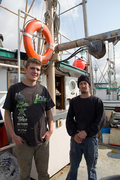 Washington Coast, Ilwaco, commercial fisherman, l to r: Ramon Rodriguez, Tyler Wilson,  people of the Washington Coast, The Nature Conservancy, Emerald Edge, TNC, commercial fishing boats, Port of Westport, Grays Harbor County, Southwest Washington, Washington State, Pacific Northwest, USA,