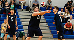 OXFORD,  CT-041519JS17- Oxford's Spencer Suttile (21) settles the ball as teammates Colin Speaker (5) and Tanner Soracco (23) look on during their match with Joel Barlow Monday at Oxford High School. <br /> Jim Shannon Republican American