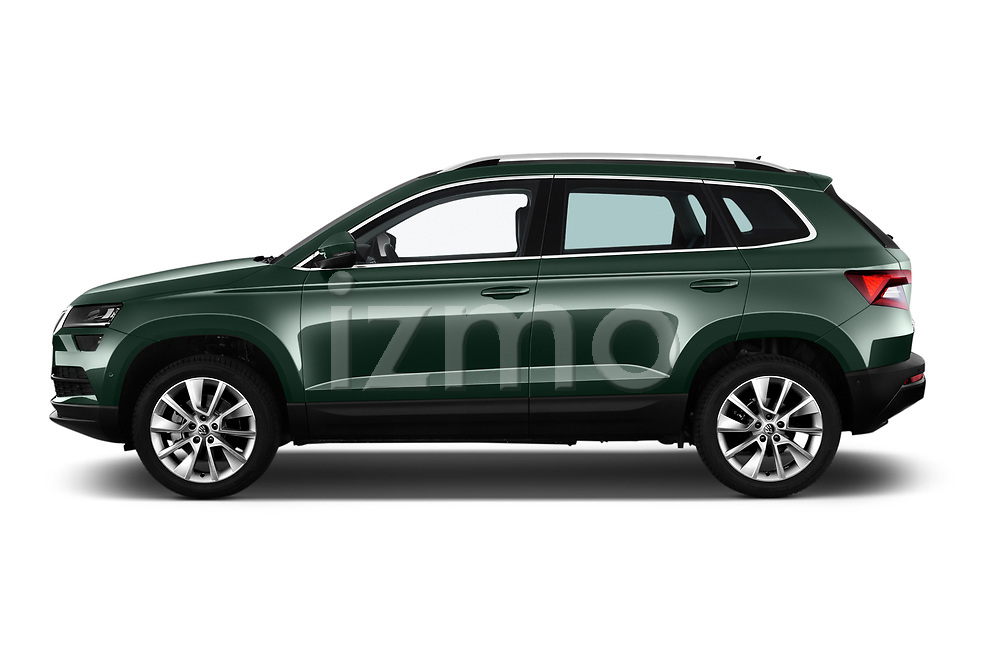 Car driver side profile view of a 2018 Skoda Karoq Style 5 Door SUV