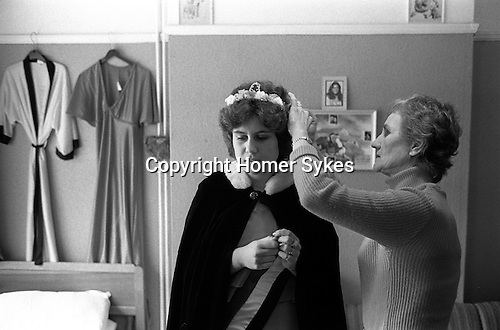 Silver Jubilee Street Party 1977 Barking east London. UK. Silver Jubilee Queen with mother getting ready.<br /> <br /> My ref 24/2057/,1977,