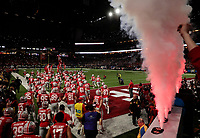The Ohio State Buckeyes take the field for the Big Ten Conference Football Championship between the Ohio State Buckeyes and the Northwestern Wildcats on Saturday, December 1, 2018 at Lucas Oil Stadium in Indianapolis, Indiana. [Joshua A. Bickel/Dispatch]