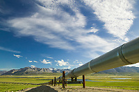 The trans-Alaska pipeline system north of the Brooks Range, view of the Endicott Mountains of the Brooks Range.