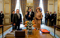 10 March 2016 - Paris, France - Queen Maxima and King Willem-Alexander at the Elysee Palace or a meeting with President Hollande during the 1st day of the 2 day state visit to France. Photo Credit: PPE/face to face/AdMedia