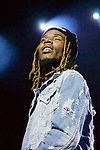 "Rapper Fetty Wap's breakout single ""Trap Queen"" was number two on the US Billboard Hot 100 chart in May 2015. His other hits include ""679'"" ""My Way,"" and ""Again."""