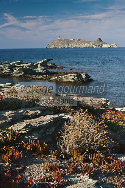Europe/France/Corse/2B/Haute-Corse/Cap Corse/Ersa/Barcaggio/Île de la Giraglia: Le littoral et l'Ile de la Giraglia