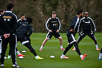 Thursday 20 March 2014<br /> Pictured: Ben Davies<br /> Re: Swansea City Training at their Fairwood training facility, Swansea, Wales,UK