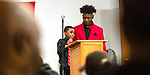"WATERBURY,  CT-011820JS21- Jabari Hendricks, 9, the youngest member of the Waterbury NAACP Youth Council, left, and council president Amari Brantley, 17, read the words of Dr. Martin Luther King, Jr., during the ""Men with a Purpose"" luncheon, a Dr. Martin Luther King, Jr. event celebrating men, Saturday at Grace Baptist Church in Waterbury. The event was sponsored by the Waterbury NAACP Youth Council.<br /> Jim Shannon Republican-American"